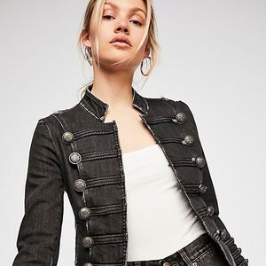 Free People Fitted Military Denim Jacket, S&M, NWT